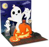 Silly Ghosts  (1 card/1 envelope) - Halloween Card  INSIDE: Happy Halloween!