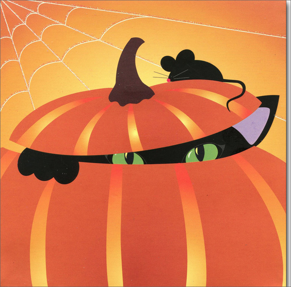 Pumpkin Cat (1 card/1 envelope) Up With Paper Pop-Up Halloween Card  INSIDE: Happy Halloween!