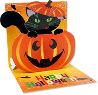 Pumpkin Cat  (1 card/1 envelope) - Halloween Card  INSIDE: Happy Halloween!