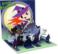 Little Witch (1 card/1 envelope) Up With Paper Pop-Up Halloween Card