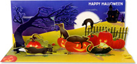 Halloween Cats  (1 card/1 envelope) - Pop-Up Halloween Card  INSIDE: HAPPY HALLOWEEN
