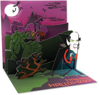 Vintage Vampire  (1 card/1 envelope) - Pop-Up Halloween Card  INSIDE: happy halloween