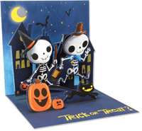 Juvenile Skeletons  (1 card/1 envelope) - Pop-Up Halloween Card  INSIDE: Trick or Treat?