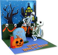 Skeletons  (1 card/1 envelope) - Pop-Up Halloween Card  INSIDE: HAPPY HOWL-O-WEEN!