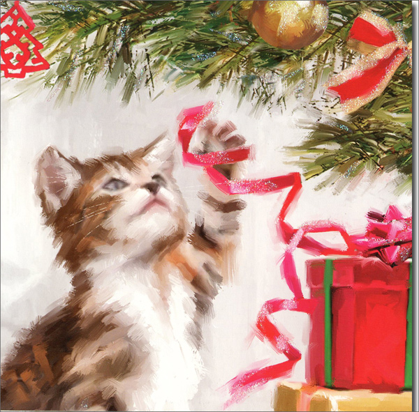Kitten's Christmas (1 card/1 envelope) Up With Paper Pop-Up Christmas Card  INSIDE: Merry Christmas