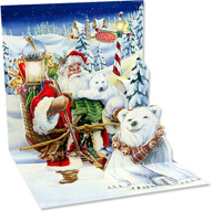 Santa & Polar Bears (1 card/1 envelope) Up With Paper Pop-Up Christmas Card