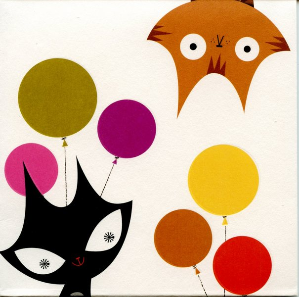 Cats and Balloons (1 card/1 envelope) Up With Paper Pop-Up Birthday Card  INSIDE: Happy Birthday