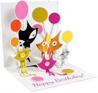 Cats and Balloons (1 card/1 envelope) - Birthday Card  INSIDE: Happy Birthday
