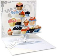 Cupcake Tier (1 card/1 envelope) - Greeting Card - FRONT: Cupcakes - Chocolates - Crossaints - Petits Fours  INSIDE: Your message here