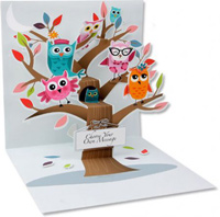 Owls (1 card/1 envelope) Up With Paper Pop-Up Greeting Card
