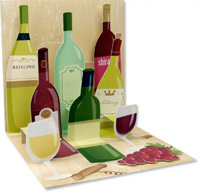 Vino (1 card/1 envelope) - Greeting Card - FRONT: vintage  INSIDE: Riesling - shiraz - Marlot - chardonnay - Choose your own message