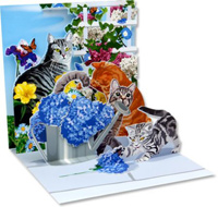 Cats and Flowers (1 card/1 envelope) - Greeting Card  INSIDE: Choose your own message