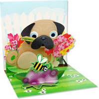 Pug Bouquet (1 card/1 envelope) - Greeting Card  INSIDE: Choose your own message
