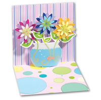 Fishbowl Flowers (1 card/1 envelope) - Pop-Up Greeting Card