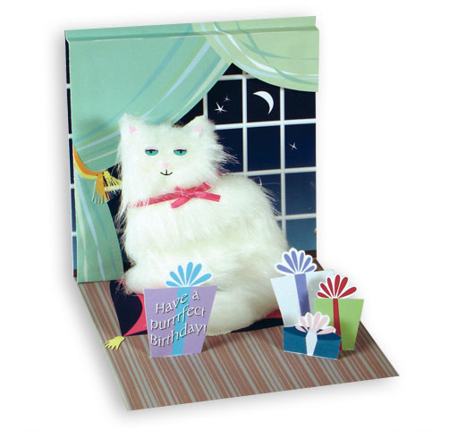 White Persian Kitty (1 card/1 envelope) Up With Paper Pop-Up Birthday Card  INSIDE: Have a purrrfect Birthday!