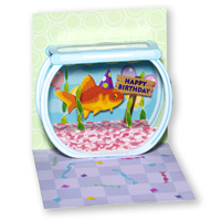 Goldfish Birthday (1 card/1 envelope) - Pop-Up Birthday Card  INSIDE: Happy Birthday