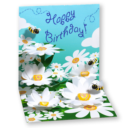 Bees And Daisies Pop Up Birthday Card By With Paper
