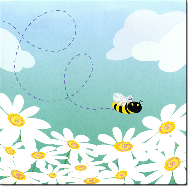 Bees and Daisies (1 card/1 envelope) Up With Paper Pop-Up Birthday Card  INSIDE: Happy Birthday!