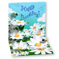 Bees and Daisies (1 card/1 envelope) - Pop-Up Birthday Card  INSIDE: Happy Birthday!
