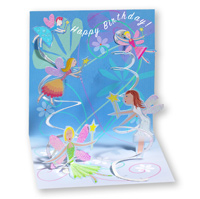 Fairies (1 card/1 envelope) - Pop-Up Birthday Card  INSIDE: Happy Birthday!