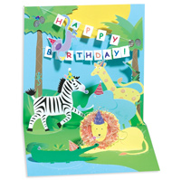 Jungle (1 card/1 envelope) - Pop-Up Birthday Card  INSIDE: Happy Birthday!