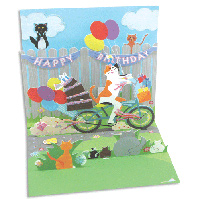 Cat & Cake Bike Ride (1 card/1 envelope) - Pop-Up Birthday Card  INSIDE: Happy Birthday