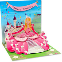 Princess (1 card/1 envelope) - Pop-Up Birthday Card  INSIDE: Happy Birthday