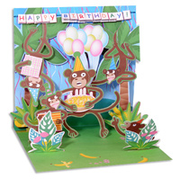 Birthday Monkeys (1 card/1 envelope) - Pop-Up Birthday Card  INSIDE: Happy Birthday
