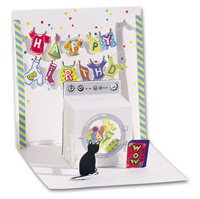 Washing Machine (1 card/1 envelope) - Pop-Up Birthday Card  INSIDE: Happy Birthday