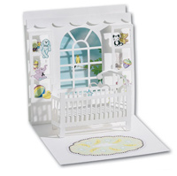 Baby Crib (1 card/1 envelope) - Pop-Up Greeting Card  INSIDE: Blank Inside
