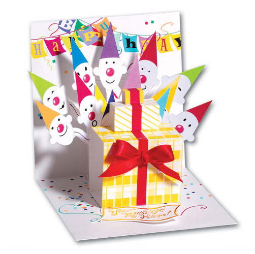party hat surprise  card/ envelope up with paper popup, Birthday card