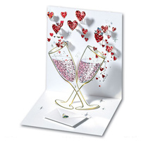 Champagne Romance Red (1 card/1 envelope) - Pop-Up Greeting Card