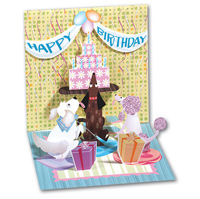 Dog and Cake Party (1 card/1 envelope) - Pop-Up Birthday Card  INSIDE: Happy Birthday