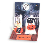 Dogs in Costume (1 card/1 envelope) - Pop-Up Halloween Card  INSIDE: Trick or Treat