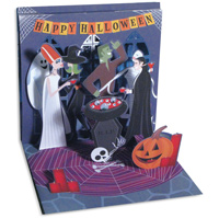 Monster Party (1 card/1 envelope) - Pop-Up Halloween Card  INSIDE: Happy Halloween