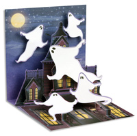 Ghosts (1 card/1 envelope) - Pop-Up Halloween Card  INSIDE: Happy Halloween
