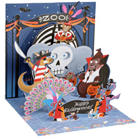 Halloween at the Zoo (1 card/1 envelope) - Pop-Up Halloween Card  INSIDE: Happy Halloween