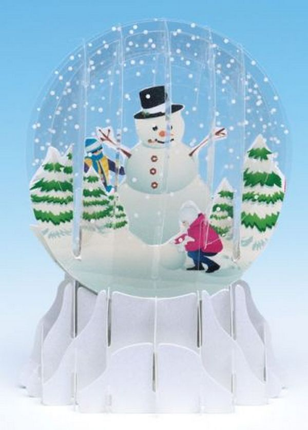 Holiday Snowman Snowglobe Pop Up Christmas Card By Up With