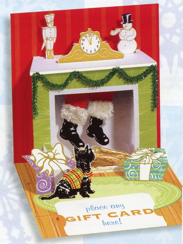 Dangling Santa (1 gift card holder/1 envelope) Up With Paper Pop-Up Christmas Gift Card Holder
