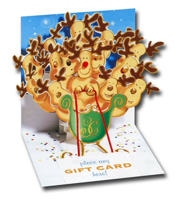 Reindeer Sleigh (1 gift card holder/1 envelope) Up With Paper Pop-Up Christmas Gift Card Holder