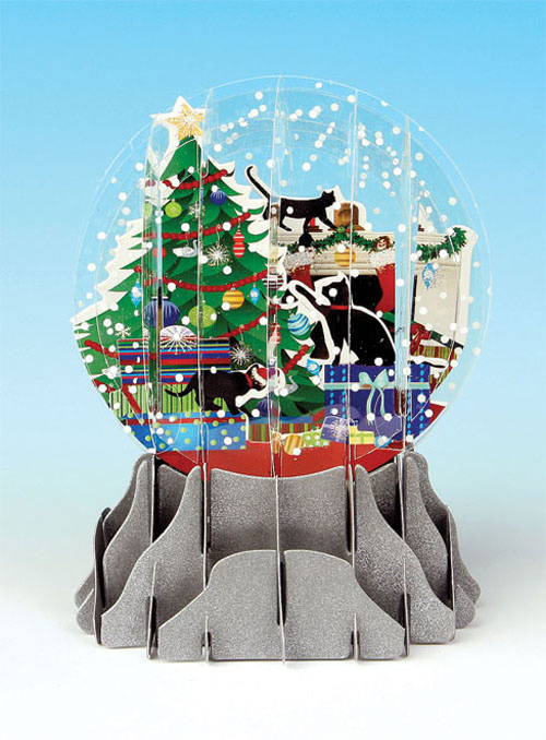 Holiday Cats Snowglobe (1 card/1 envelope) Up With Paper Pop-Up Christmas Card