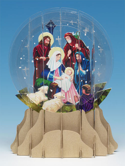Nativity Snowglobe  (1 card/1 envelope) - Christmas Card