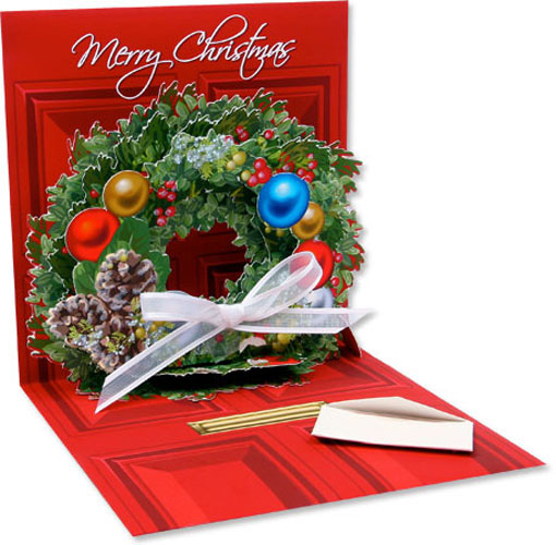 Wreath (1 card/1 envelope) Up With Paper Pop-Up Christmas Card  INSIDE: Merry Christmas