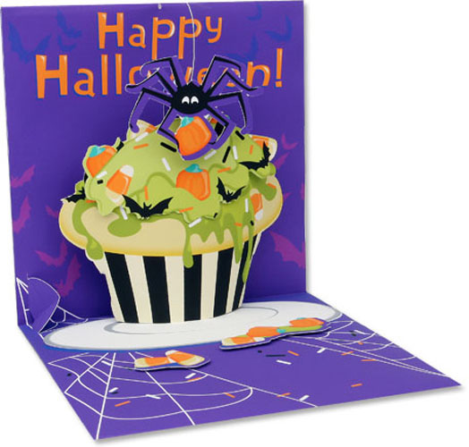 Spider Cupcake (1 card/1 envelope) Up With Paper Pop-Up Halloween Card  INSIDE: Happy Halloween!