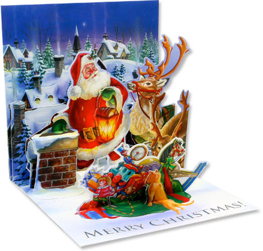 Rooftop Santa (1 card/1 envelope) - Christmas Card  INSIDE: Merry Christmas!