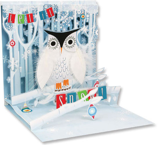 Snowy Owl (1 card/1 envelope) Up With Paper Pop-Up Christmas Card  INSIDE: Let it Snow!