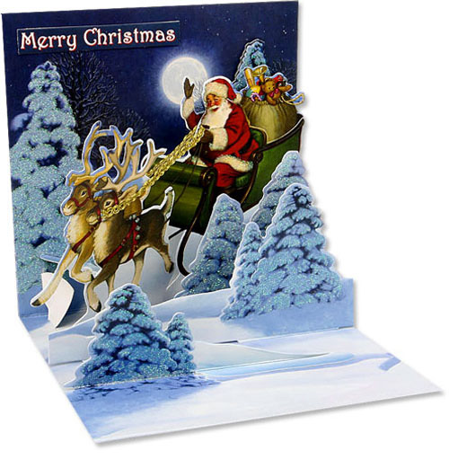 Woodland Sleigh (1 card/1 envelope) Up With Paper Pop-Up Christmas Card  INSIDE: Merry Christmas