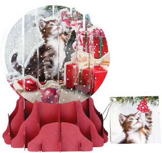 Christmas Kitten Large Snowglobe (1 card/1 envelope) - Christmas Card