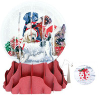 Christmas Dogs Large Snowglobe Pop-Up Christmas Card