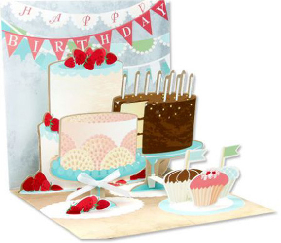 Birthday Cakes (1 card/1 envelope) Up With Paper Pop-Up Birthday Card  INSIDE: Happy Birthday